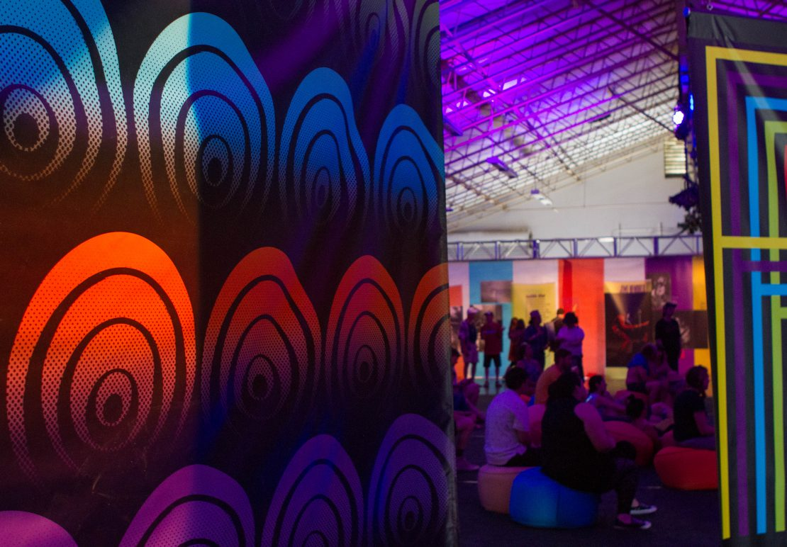 Super Color Digital Monterey International Pop Festival | Pop-Up Museum 1967 | Exhibit | Vinyl Walls | Fabric Walls