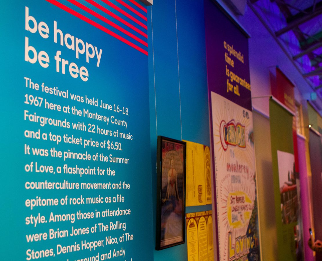 Super Color Digital Monterey International Pop Festival | Pop-Up Museum 1967 | Exhibit | Vinyl Walls