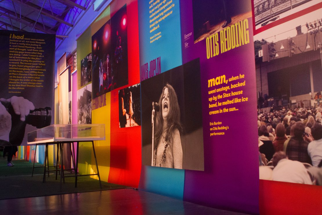 Super Color Digital Monterey International Pop Festival | Pop-Up Museum 1967 | Exhibit | Vinyl Walls Janis Joplin | Otis Redding | Jimi Hendrix