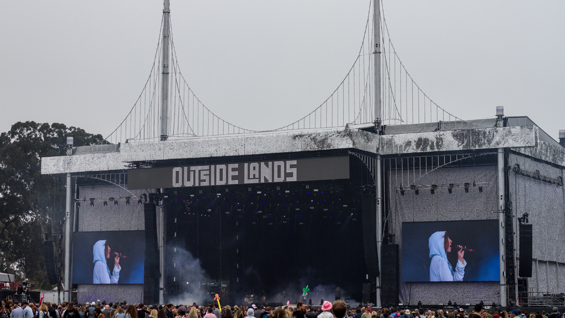 Super Color Digital Outside Lands 2017 Golden Gate Park San Francisco Music Festival Grand Format Visual Solutions Fabric Stage Scrims Dimensional Graphics Pixel LED Signs Signage Concert