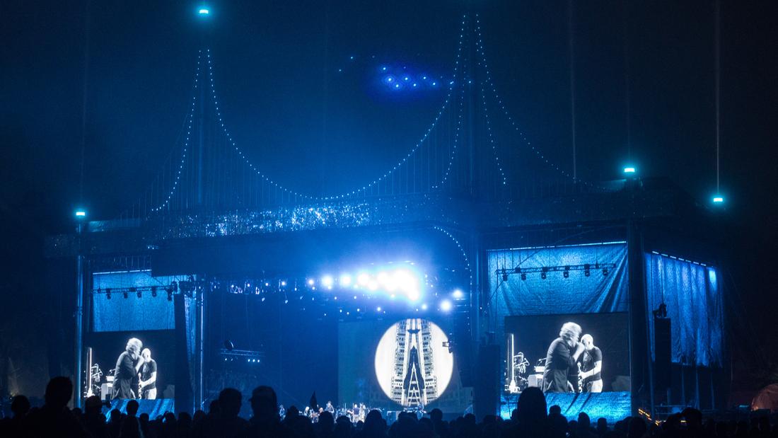 Super Color Digital Outside Lands 2017 Golden Gate Park San Francisco Music Festival Grand Format Visual Solutions Fabric Stage Scrims Dimensional Graphics Pixel LED Signs Signage Concert