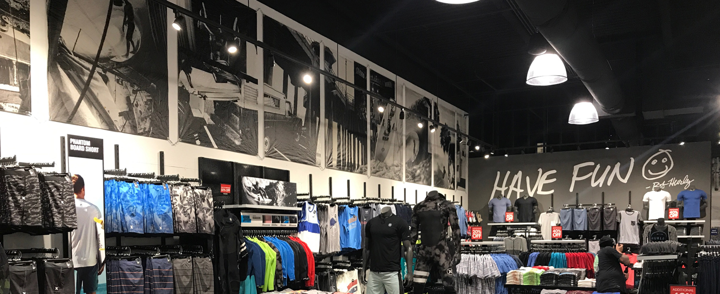 Hurley Retail Display Graphic Printing Fabric Recycled Material Sailing Action Sports