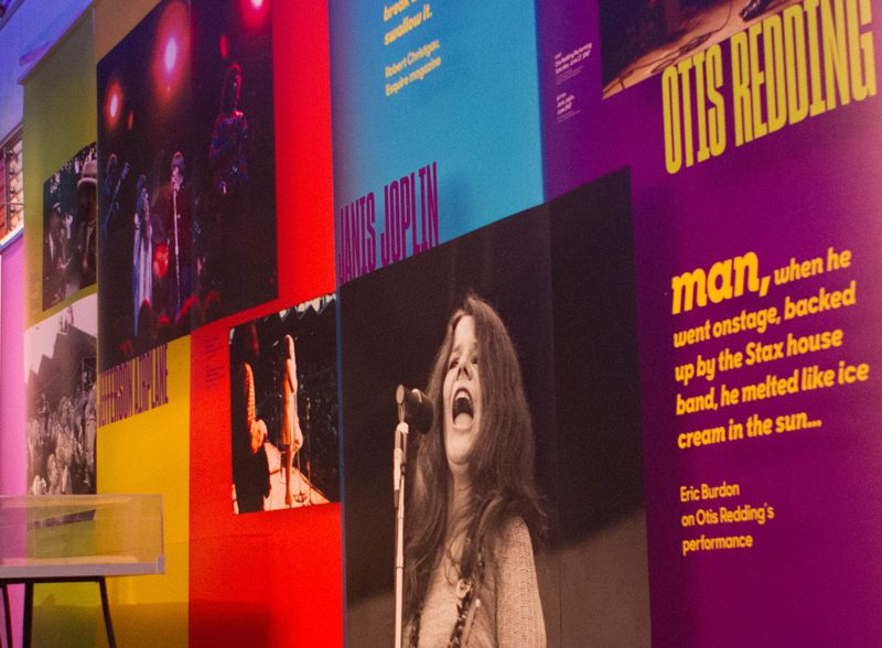 Monterey Pop Festival Super Color Digital Large Format Printing Concert Graphics Wallpaper DImensional Timeline Fabric Banners Outdoor Interior Design