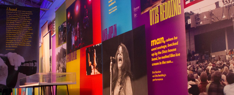Monterey Pop Festival Super Color Digital Large Format Printing Concert Graphics Wallpaper DImensional Timeline Fabric Banners Outdoor Interior Design