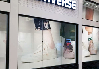 Super Color Digital Retail Visual Communication Solutions Fashion Clothing Store Wallpaper Vinyl Install POS Bespoke Display Rollout Branded Marketing Window Display Lighting Solutions