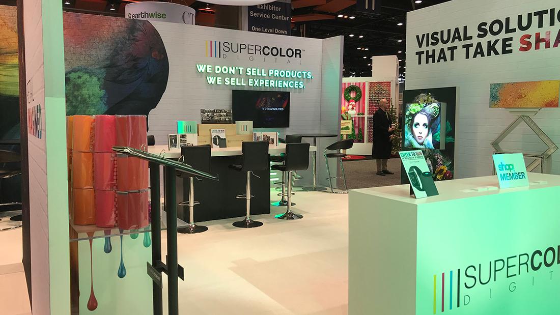 Custom Fabricated Trade Show Display GlobalShop 2018 Retail Fabric Garaphiics Bespoke LED Lighting Light Box Banners Visual Communication Solutions