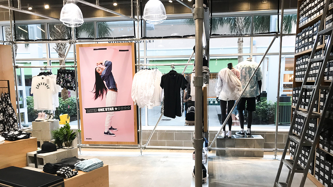 Converse Retail Store Concept Visual Communications Fabric Graphics Vinyl Wallpaper Decal Interior Design Branding Change Out Sneakers Trendy Apparel Super Color Digital