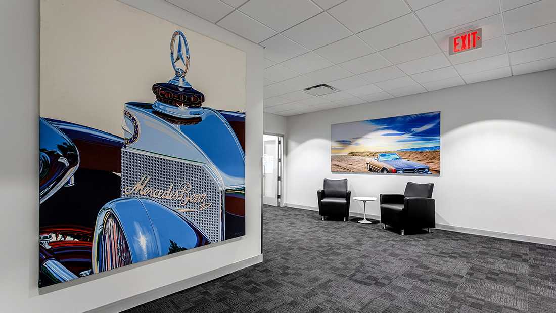 Automotive Dealership Interior Design Visual Graphics SEG Metal Frames Fabric Graphics Wallpaper Vinyl Decal Branded Marketing Mercedes Benz Luxury Lightbox Illumination Visual Communications Visual Design