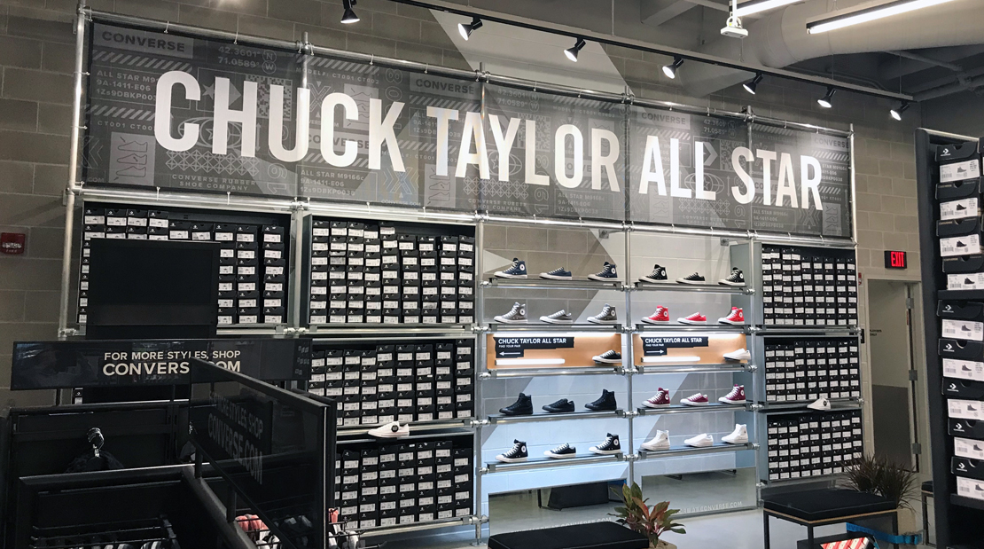 Converse More Than Just We Are Brand Partners Retail Apparel Sneakers Mesh Fabric Vinyl Decal Visual Solutions Printing Super Color Digital