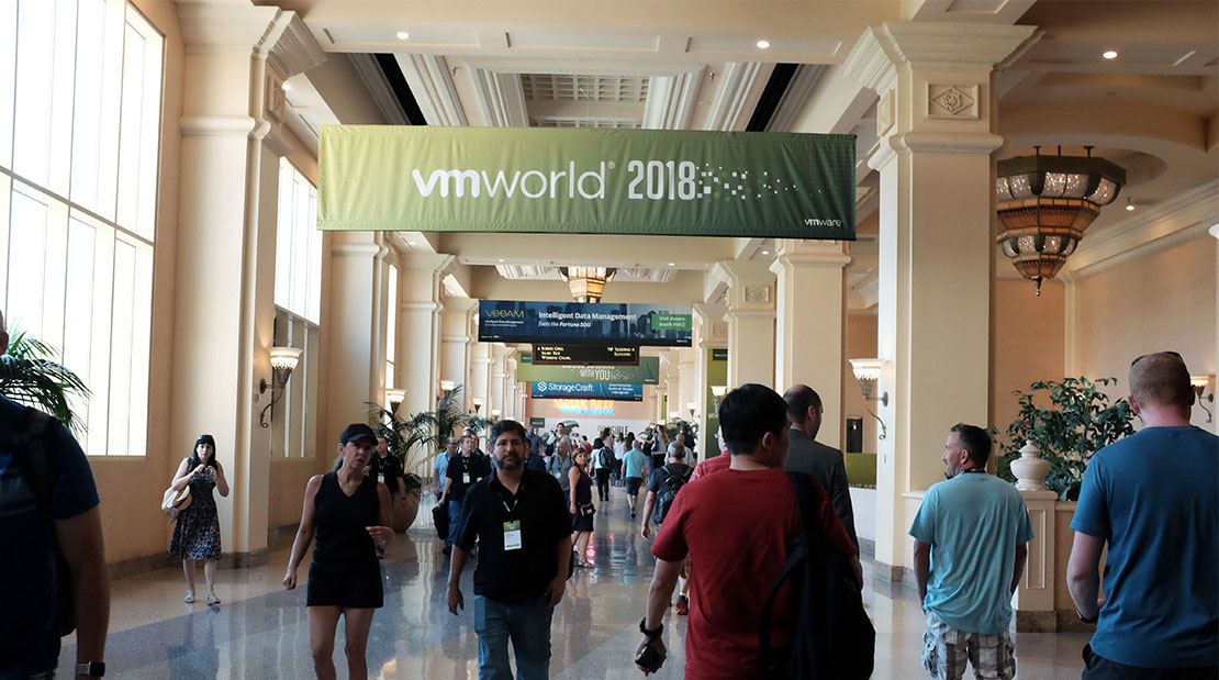Visual Experiences VMWorld 2018 Printing Visual Solutions Event Trade Show Banners Fabric Wallpaper Window Decal Events Convention Floor Stair Large Format Super Color Digital