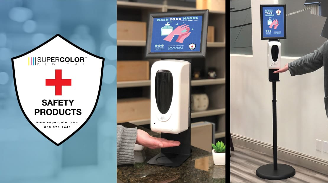 touch-free touchless freestanding desktop hand sanitizer stations safety social distancing products covid-19 restaurants salon barbershop office retail super color digital
