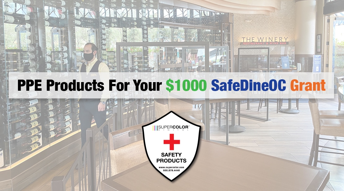 SafeDineOC Grants For Orange County Restaurants COVID-19 Social Distancing Decals To-Go Barriers